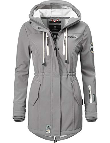 Marikoo Mountain Damen Softshell-Jacke Outdoorjacke Zimtzicke Grau Gr. L