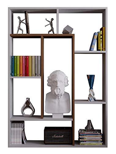 Homidea Spring Bücherregal - Weiß/Nussbaum - Standregal - Büroregal - Raumtieler für Wohnzimmer/Büro in modernem Design -