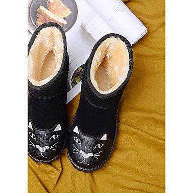 RTRY Scarpe donna pu Fall Winter Snow Boots stivali tacco piatto rotondo Mid-Calf Toe stivali per Casual arrossendo rosa grigio nero US7.5 / EU38 / UK5.5 / CN38
