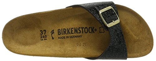 Birkenstock - Madrid Birko-flor, Pantofole Donna Schwarz (Myda Night)