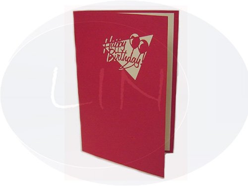 Pop Up 3d Grußkarte Geburtstagskarte, Motiv: Kuchen, Farbe: rot [Musiknoten]