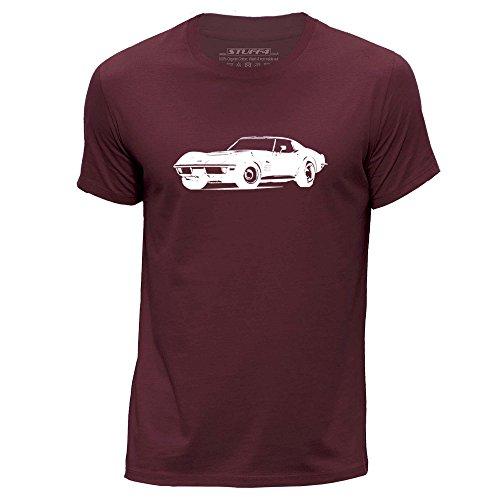 Stuff4® Herren/Mittel (M)/Burgund/Rundhals T-Shirt/Schablone Auto-Kunst/70 Corvette ZR1 (Burgund Christmas Stockings)