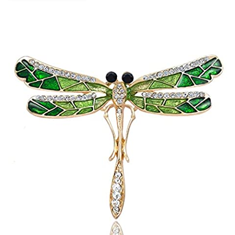 TFboys Women Dragonfly Butterfly Flower Brooches Pins Scarf Clips Crystal