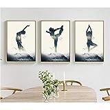 HYLBH Pintura Mural Minimalista Moderno Yoga Figura Silueta Lienzo Arte Pintura Pintura...