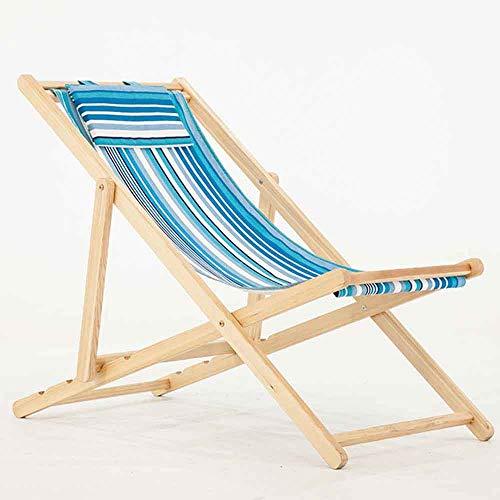 KFXL yizi Chaise pliante simple en bois massif/chaise longue en toile de plage extérieure/fauteuil inclinable côté piscine/chaise dossier respirant en plein air balcon (Couleur : B)