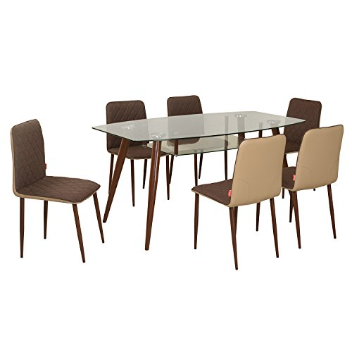 @home by Nilkamal Six Seater Dining Table Set (Brown)