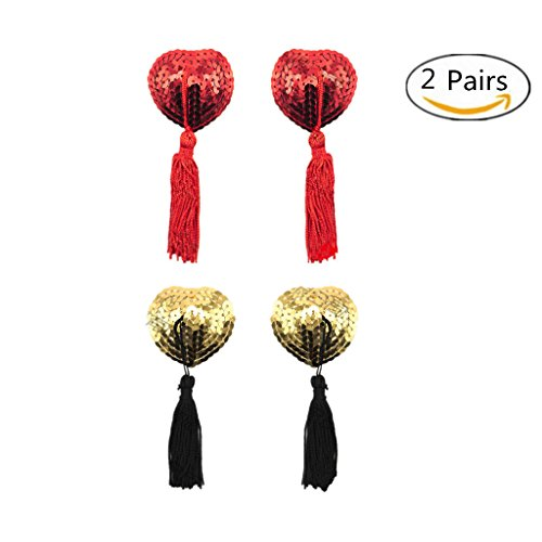 Dessous Breast Petal Pasty, selbstklebende Pailletten Pasties mit Quasten, Nipple Covers rot und golden (2) (Pailletten-cover)