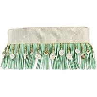 Cinturones-anchos para mujer-Fajín/Diseño y modelo exclusivo hecho a mano/Cinturon flecos verde agua marina y conchas/Regalos para mujer-para ella-para mujeres