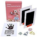 PChero - Kit de almohadillas de tinta para huellas de manos de bebé, ideal para recuerdos familiares, regalo para bebé 2pcs Black Talla:9.5 x 5.7cm