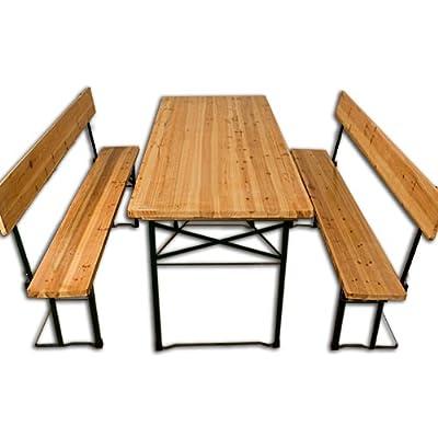 Bierzeltgarnitur mit Rückenlehne und klappbarem Tisch, Extrabreit, 180cm lang, Tisch 70 cm
