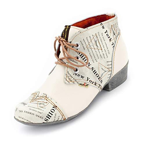 TMA Damen 6109 Stiefeletten Cremeweiß 38 - Eye Chukka Leder Boots