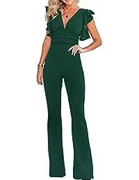ZIYYOOHY Damen eleganter Jumpsuits Hosenanzug Ärmel Volant Overall  Spielanzug Romper Einteiler Party 454c9ceeba