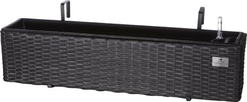 Gartenfreude 4000-1045-001 Balconnière en rotin synthétique avec étrier de Suspension Anthracite 80 x 19 x 18 cm