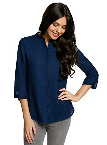 Oodji collection donna camicetta basic in cotone, blu, it 46/eu 42/l