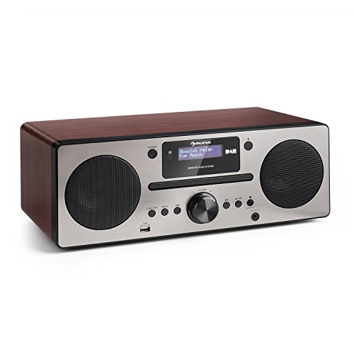 auna Harvard • Digitalradio • Micro-Anlage • DAB/DAB+ / UKW-Tuner • CD-Player • USB-Charger • Bluetooth • AUX • LCD-Display • 80 Senderspeicherplätze • Wecker • Sleep-Timer • Fernbedienung • walnuss