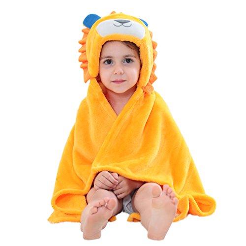 MICHLEY Baby Bademantel Tier Kapuzen Handtuch Soft Fleece Baden Wrap Decke für Jungen und Mädchen(lion)