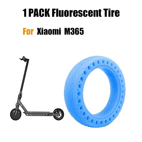 FreeLeben Neumático Fluorescente Scooter Eléctrico, 1 PC Caucho Resistente al Desgaste Antideslizante Llanta de Repuesto de Nido de Abeja Sólido para el Scooter Eléctrico Xiaomi M365 (Azul)