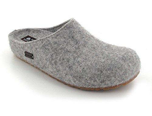 Haflinger Schuhe Damen Herren Hausschuhe Pantoffeln Wolle Grizzly Michel 711033 Steingrau