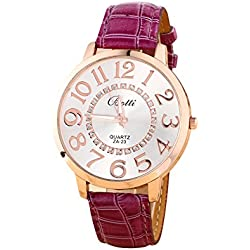 Batti ZA-23 Unisex Big Numerals Rhinestone Faux Leather Wrist Watch Purple