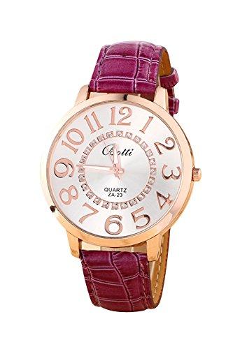 Montre-bracelet - Batti ZA-23 Unisexe montre-bracelet de cadran de gros chiffres strass avec bande en simili cuir violet