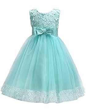 Vestido de Tulle del Bowknot del vestido de la fiesta de cumpleaños del Pincess del vestido del cordón de la flor...