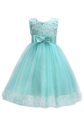 YMING Kinder Blumen Kleid Festlich Brautjungfernkleid Prinzessin Hochzeit Partykleid Tütü Kleid mit Schleife,Minze Grün,3-4 Jahre (Jahre Kleinkind Kostüme Mädchen 50er)