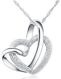 Yearol. Collar colgante de plata para mujer con corazones. Original caja de regalo. Especial San Valentin, Dia de la Madre, cumpleaños, pareja, etc.