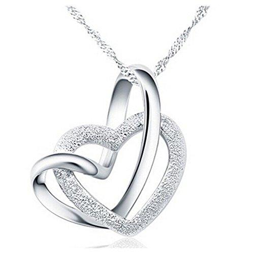 Yearol joyeria. Collar colgante de plata para mujer con corazones. Original caja de regalo. Especial navidad, cumpleaños, san valentin, novia, etc.