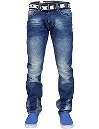 Crosshatch Mens Regular Straight Leg Cotton Branded Denim Jeans with Free Belt