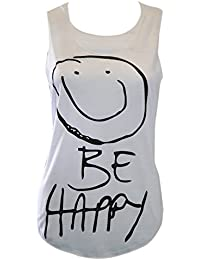 MyMixTrendz-womens 'be happy'smiley face gilet top t-shirt