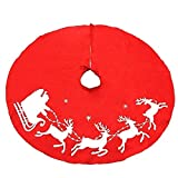 Ruby Stores - 100cm/39.5inch 1PC New Lovely Red Christmas Tree Skirt Sled Reindeer And Snowflakes Cover Base Decoration Xmas Tree Cover DecorChristmas Tree Skirts