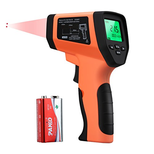 WELQUIC Doppelter Laser Infrarot Thermometer, Pyrometer Temperaturmessgerät -50 bis +750°C, Berührungslos Thermometer Digital LCD Beleuchtung, orange schwarz