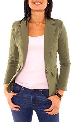 Easy Young Fashion Damen Sommer Sweat Jersey Blazer Jacke Sweatblazer Jerseyblazer Sakko Kurz Gefüttert Langarm Uni Einfarbig Khaki S - 36 (M)