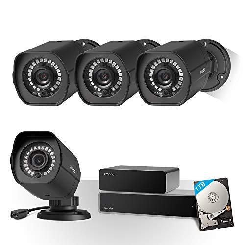Zmodo CCTV 8 Kanal HDMI NVR 1080P Sicherheitssystem 4*Überwachungskamera Set Full HD für Aussen/Innen mit sPoE Repeater, Bewegungsmelder, Wetterfest, 1TB Festplatte, Schwarz