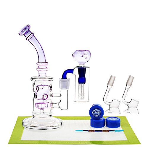 REANICE Bongs glass Recycler 22.5cm 14.5mm Jonit purple + Silicon mat/Silicon wax/tools dabber