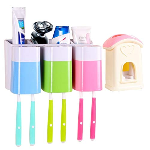 Z-SHYP Multi-functiona Zahnbürstenhalter Set Mit 3 Zahnbürstenbecher Zahnbürste Caddy Automatischer Zahnpastaspender Wandmontiertes Badezimmer-Organizer (Farbe : C) - Zahnbürste Caddy