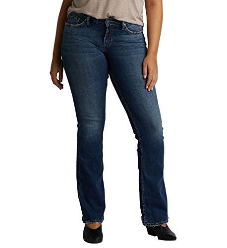 Denim Und Co (Silver Jeans Co. Damen Plus Size Suki Mid-Rise Curvy Slim Bootcut Jeans, Power Stretch Dark Wash, 28Wx 37L)