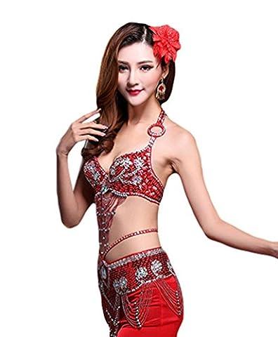 YiJee Damen Bauchtanz BH Set Side Split Belly Dance Lotus Blatt Edge Rock Rot M (Bauchtanz-kostüme Amazon)