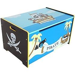 Baúl pirata de madera, para almacenaje de juguetes.