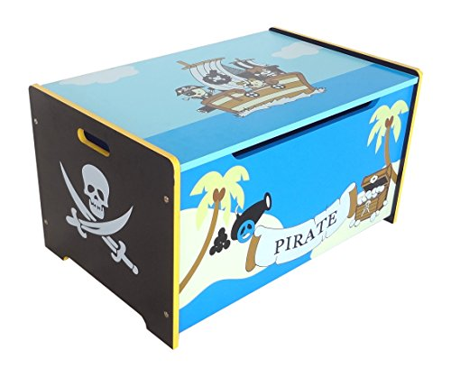 *Kiddi Style Piraten Schatztruhe, Kinder Truhe & stylische Spielzeugtruhe für Kinderspielzeug & zur Spielzeugaufbewahrung – Sitztruhe, Schatzkiste, Spielzeugbox & Spielkiste für Spielsachen*