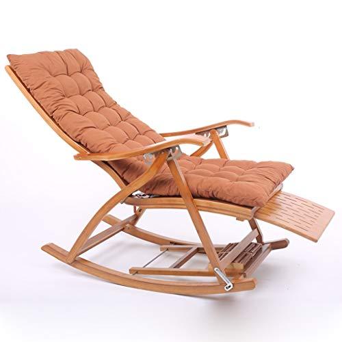 Schlafzimmer Liege (AFEO-Liegen Klappbarer Schaukelstuhl Liegestuhl Bambusstuhl Schwangere Frau Lehnstühle Schlafzimmer Wohnzimmer Ruhesessel Freizeitstuhl am See Rückenlehne Sessel (Color : C+Cushion))