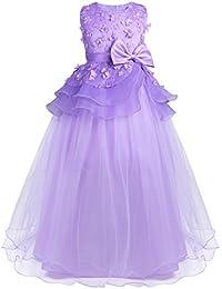 3e5695019e6cf YiZYiF Princesse Robe Demoiselle Enfant Fille 3D Fleur Robe Jupe Noeud  Papillon Lace Robe Cérémonie Filles