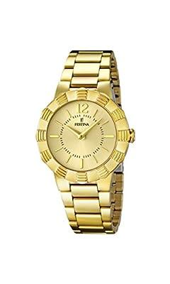 University Sports Press F16732/2 - Reloj de cuarzo para mujer, con correa de acero inoxidable chapado, color dorado de University Sports Press