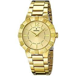 University Sports Press F16732/2 - Reloj de cuarzo para mujer, con correa de acero inoxidable chapado, color dorado