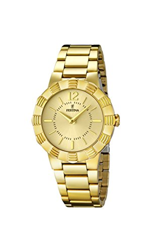 Festina Women's Quartz Watch with Gold Dial Analogue Display and Gold Stainless Steel Plated Bracelet F16732/2