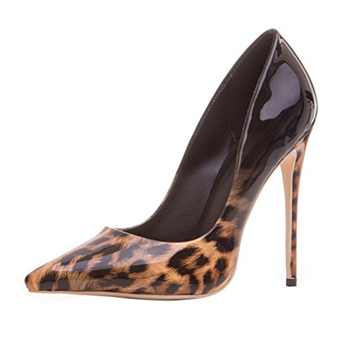 ENMAYER Womens High Heels Spitz Zehe Schuhe Slip-on Court Party Kleid Pumps Schwarzer Leopard