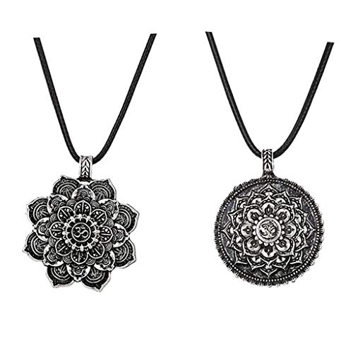 P Prettyia 2X Collar Colgante Dije de Aleación de Patrón Flor Loto Mandala Accesorios Unisex Mujer Hombre