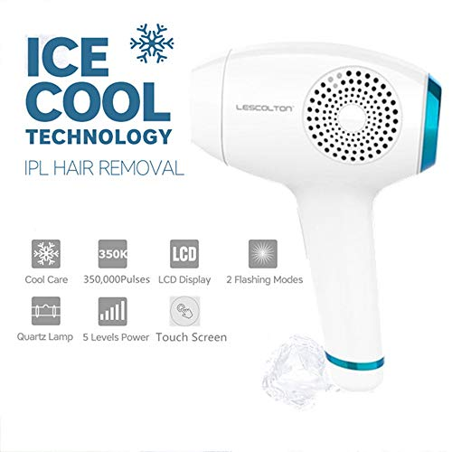MRDEER Ice Cool Care IPL Haarentfernungsgerät 350000 Mal Lichtimpulsen Haarentfernungssystem, Dauerhafte schmerzlose Haarentfernung mit Touchscreen, Brille, 5 Intensitätsstufen