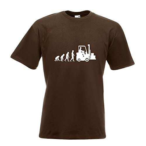 KIWISTAR - Evolution Gabelstapler T-Shirt in 15 verschiedenen Farben - Herren  Funshirt bedruckt Design