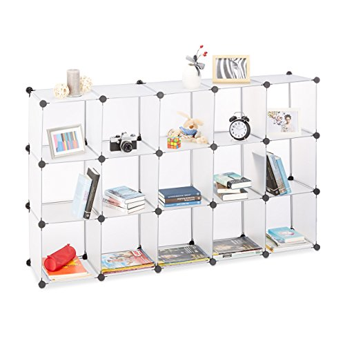 Relaxdays 10021959_50 scaffale componibile, in plastica, divisorio ambienti, cubi a incastro, 15 scomparti, trasparente